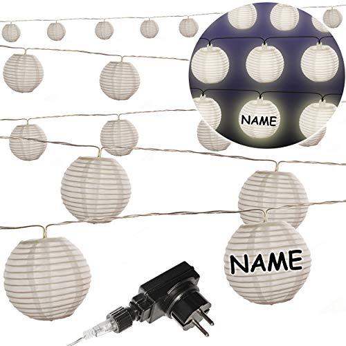 alles-meine.de GmbH Licht - LED - Lichterkette / Lampionkette - 10,50 Meter - wetterfest - AUßEN & INNEN - Strombetieben - elektrisch - mit Trafo Stecker - inkl. Name - 20 weiße ..