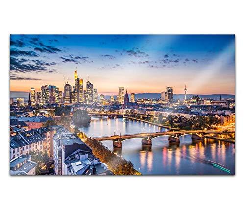 Acrylglasbilder 80x50cm Skyline Frankfurt Brücke Landschaft Acryl Bilder Acrylbild Acrylglas Wand Bild 14H786