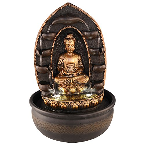JB KIARA TEXTILES Buddha Tabletop Water Fountain for Indoor and Outdoor Pink