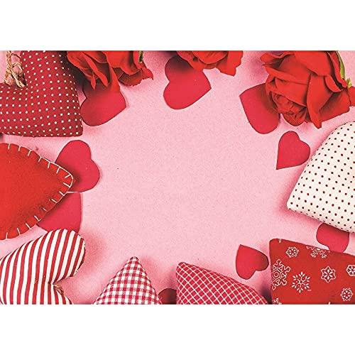 Accesorios de Fondo de fotografía de Vinilo Día de San Valentín Fondo de fotografía con Tema de Rosas Cortina de Fiesta de Boda A12 10x10ft / 3x3m