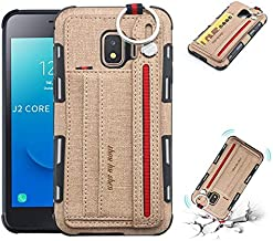 For Samsung Galaxy J2 Core Case, Retro Durable Canvans Back Cover with Dual Card Slots for Samsung Galaxy J2 Core (Color : Khaki)
