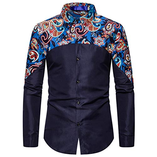 Zytyeu Bedruckte Hemden Herren Langarm Vintage Lässiges Knopfhemd Mode Elegante Tops Klassische Formelle Arbeit Businesshemd Hochzeit Party Zeremonie Fancy Top C-Blue XL