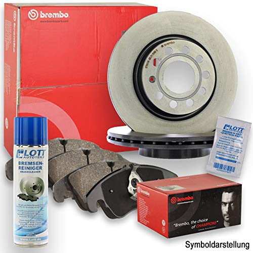 Original Brembo Bremsscheiben vorne + Brembo Bremsbeläge Bremsklötze Bremsenset Bremsenkit Komplettset Vorderachse + Bremsenreiniger