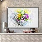 Acuarela Abstracta Flor Planta Verde Lienzo póster e Impresiones Estilo nórdico Moderno Mural decoración de la Sala sin Marco Pintura 40x60 cm