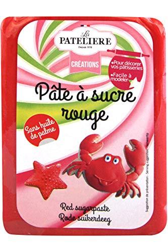 LA PATELIERE Pâte à Sucre Rouge sans Huile de Palme