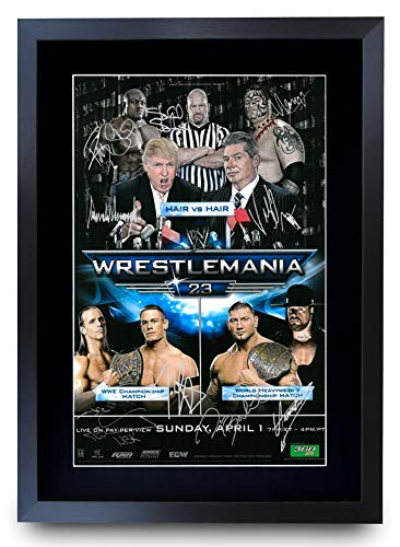 HWC Trading Poster FR Wrestlemania 23 von The Cast signiertes Geschenk, gerahmt, A3 gedrucktes Autogramm WWF WWE Wrestling Geschenke Druck Foto Display