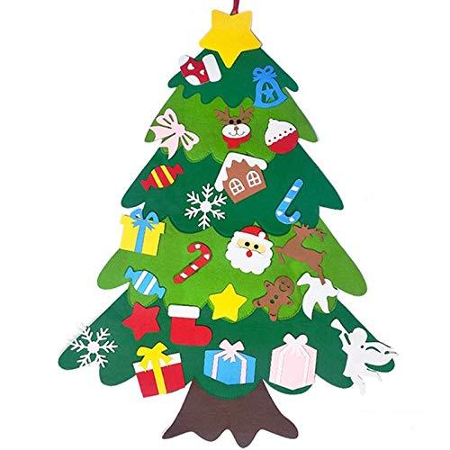 JKMQA Niños DIY Fieltro Árbol de Navidad Adornos Colgantes de la Pared Santa Claus Navidad Decoración de Árbol para Home Shop Kindergarten Regalos Año TK033C