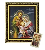 Christmas Holy Family Nativity 8' x 10' Religious Framed Print Wall Plaque in Ornate Gold Finish Frame. Beautiful Art Print of Blessed Mother Virgin Mary with Baby Jesus and St Joseph (INCLUDES Laminated Holy card)
