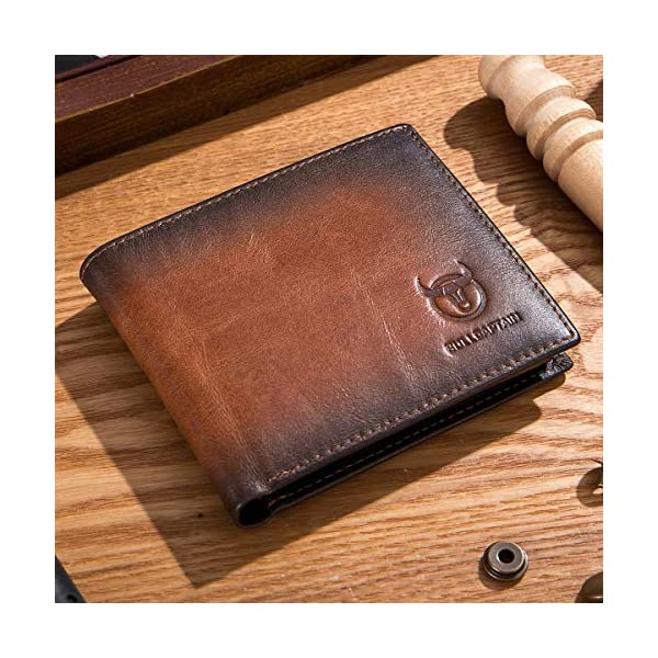 BULLCAPTAIN Wallets for Men with Double ID Window Slim Bifold Vintage Genuine Leather Front Pocket Wallet QB-05#3 1