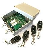 Set 4x Handsender und Funk Empfänger Steuerung für alle 433MHz Sender mit Keeloq, universal programmierbar, 2 Kanal mit je 230V / max. 16A Relais, ADK-7 als Garagensteuerung, Lampensteuerung, Jalousiesteuerung, Pumpensteuerung etc.