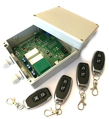 Set 4x Handsender & Funk Empfänger Steuerung für alle 433MHz Sender mit Keeloq, universal programmierbar, 2 Kanal mit je 230V / max. 16A Relais, ADK-7 als Garagensteuerung, Lampensteuerung, Jalousiesteuerung, Pumpensteuerung etc.