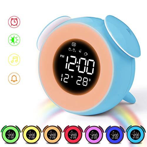 HOMVILLA Digitaler Wecker Kinder Wecker Doppelter Alarm Licht Aufwachen Nachtlicht Tisch Nachttischlampe Snooze Touch Control Funktion 25 Naturgeräusche USB Ladeanschluss für Nachttisch Schlafzimmer