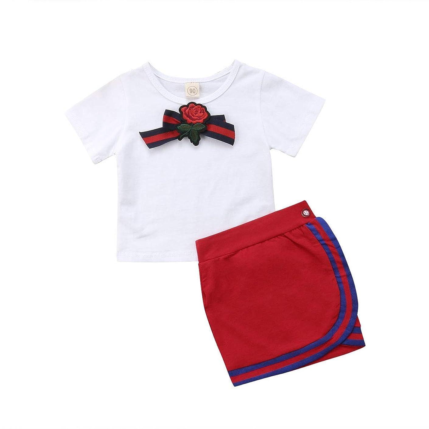段落望む請負業者Onderroa - 女子制服新生児キッズベビー は蝶の花タイのTシャツショートミニスカートパーティーウェディングチュチュドレストップス設定します。