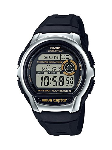 Casio Men's Wave Cepto Stainless Steel Quartz Watch with Resin Strap, Black, 22.4 (Model: WV-M60-9ACF)
