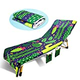 TIAQUN Beach Chair Cover,Lounge Chair Cover Microfiber Beach Towel Swimming Pool Lounge Chair Cover with Pockets for Sun Lounger Hotel Vacation-No Sliding (Style#2)