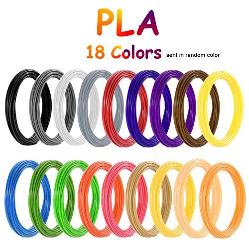 PLA Filamento de pluma 3D, Vibury 18 Colores 1.75 mm Total de 177 Pies Pluma de Impresión 3D Filamento 3D Pluma Filamento para impresoras 3D y bolígrafos 3D
