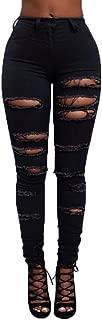 High Waist Women Knee Skinny Denim Distressed Ripped Boyfriend Jeans