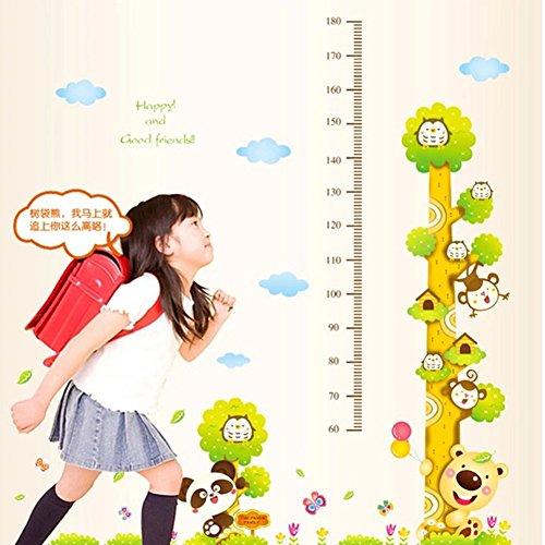 GenialES Medidor de Crecimiento Infantil Vinilo Pegatina Decorativa Adhesivo de Pared Dormitorio Sala Armario Dibujo Mono Búho Girafa 50cm*70cm*2