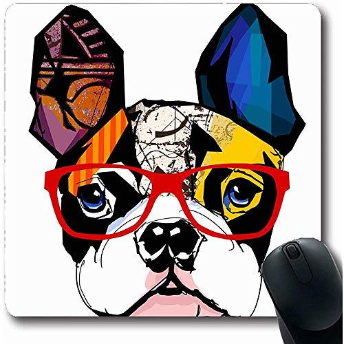 Mousepad Oblong 18X22Cm Bulldog aquarel hond Frans dragen zonnebril schets kleur grappige huisdier tekening office computer laptop notebook muis pad, antislip rubber