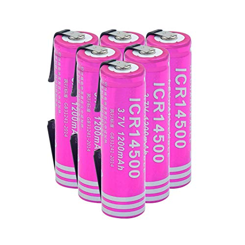 zhoudashu 3.7v 1200mah 14500 Lithium Li Ion Battery, Rechargeable Suitable for Power Bank Flashlight 6pieces