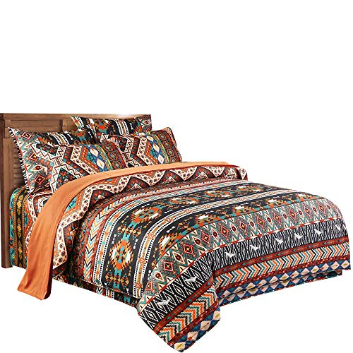 Loussiesd Bohemian Duvet Cover Set Ethnic Vintage Boho Exotic Bedding Set Double Size Retro Printed Bedspread Microfiber Bedding Cover Set Chic Comforter Cover with 2 Pillow Shams Colorful Zipper