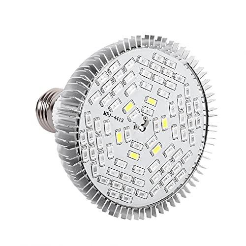 1Pc 50W 80W Full Spectrum E27 Bulb LED Plant Grow Lamps Horticulture Growing Light con termómetro Monitor de humedad para jardín(78 LED)