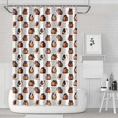 sedoied Lots of Little Guinea Pigs Shower Curtain with Hooks Wave Colorful Spa Bath Shade