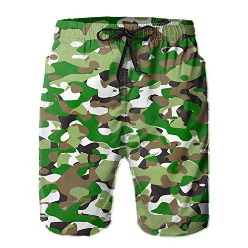 MayBlosom Pantalones cortos de playa de camuflaje de verano de natación troncos de secado rápido pantalones cortos divertidos 3D impresos ropa de playa con cordón