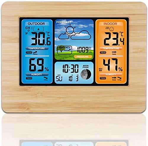 CLQ Station météo sans Fil, prévision numérique Thermomètre extérieur intérieur Température Humidité Alarme Horloge météo avec capteur extérieur