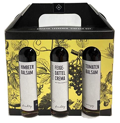 6er GENUSS - UND GESCHENKSET ESSIG / ÖL | Wajos | Basilikum auf Olivenöl,, Zitrone auf Olivenöl, Würzöl mediterrane Art, Feige-Dattel Crema, Himbeer Balsam, Tomaten Balsam | 6 x 40 ml