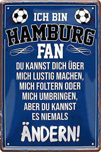 Tin Sign Blechschild 20x30 cm ich Bin Hamburg Fan Spruch Bar Kneipe Haus + Garten Metall Schild Geschenk