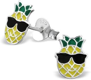 925 Sterling Silver Pineapple wearing Sunglasses Stud Earrings 26297