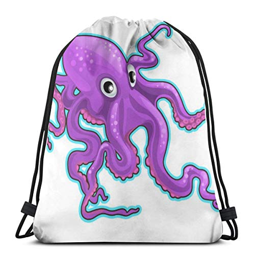 Cartoon Purple Octopus Inhabitants Of The Seas Boys Girls Teenager Drawstring Bag ,Full printing Drawstring Backpack School