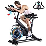 ANCHEER Heimtrainer, 49LBS Indoor Cycling Bike Fitnessbike Mit Herzfrequenzmonitor & LCD Monitor, Bequeme Sitzkissen, Schwere Schwungrad Upgrade Version, Multi-Grips