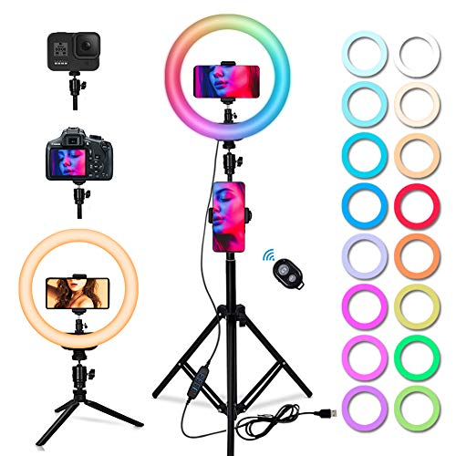 """ParaPace 10"""" RGB Selfie Ring Light,16 Color 13 Modes Flash Ring Light with Tripod Stand & Cell Phone Holder, LED Desktop Beauty Light for Live Stream/Make Up/YouTube/TikTok/Video for iPhone & Android"""