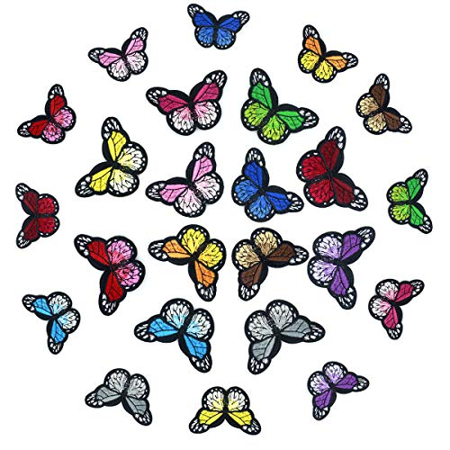 Netspower 24Pcs Patches zum Aufbügeln Set Schmetterling Bügelflicken Aufnäher Patches Sticker Kinder für DIY Kleidung T-Shirt Jeans Hut Flicken