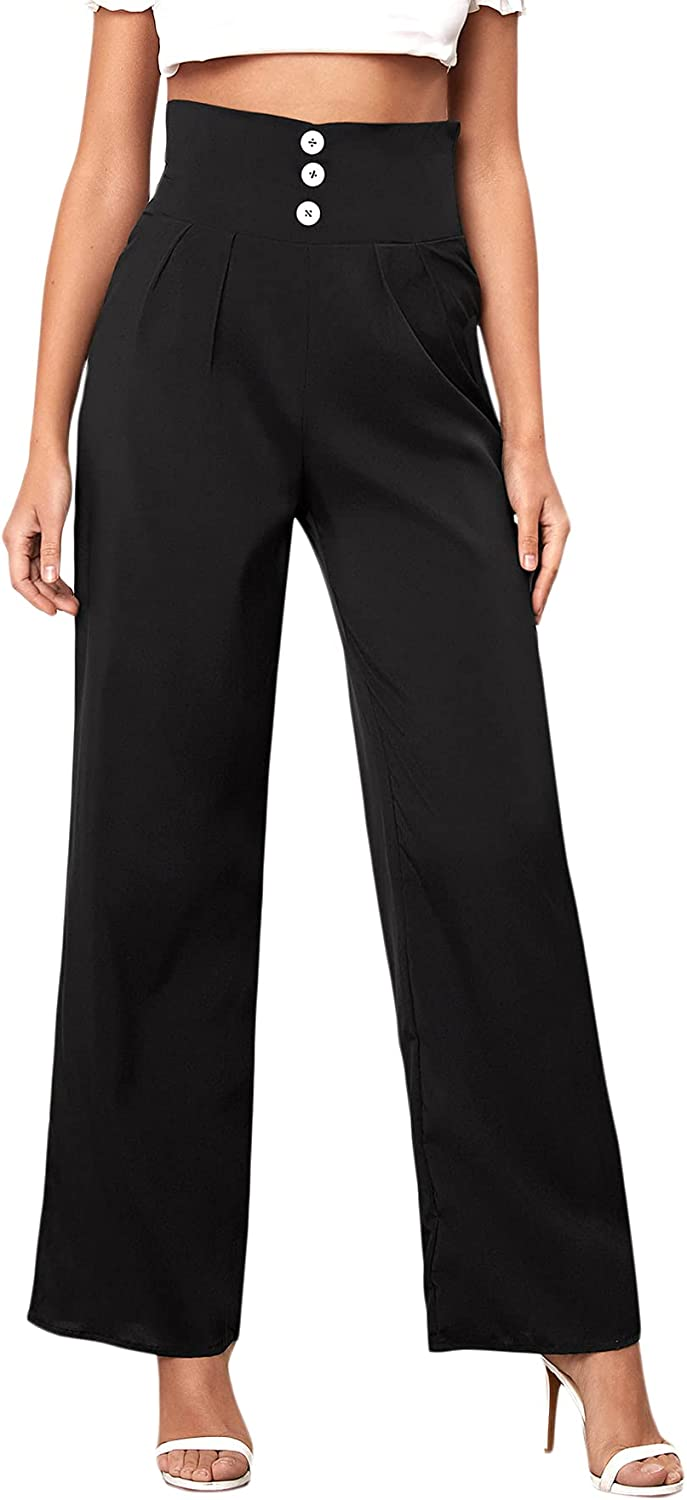 DIDK Women's Casual High Waist Straight Leg Button Front Solid Work Pants