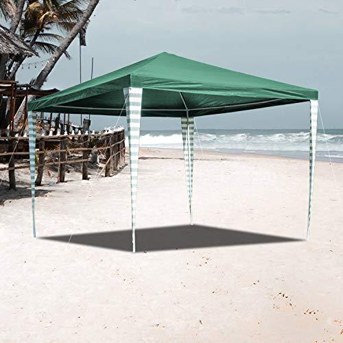VINGO Pavillon 3 x 3 m Partyzelt Wasserdicht für Garten Terrasse Markt Camping Festival als Unterstand Gartenpavillon Grün Zelt
