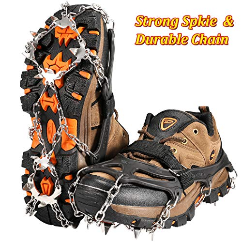 ZOTO Ice Traction Cleats, 19 Spikes Crampons for Hiking Boots Shoe Ice and Snow Grips Anti-Slip Stainless Micro Spikes for Hiking, Walking, Climbing, Jogging, Fishing, Running (M)