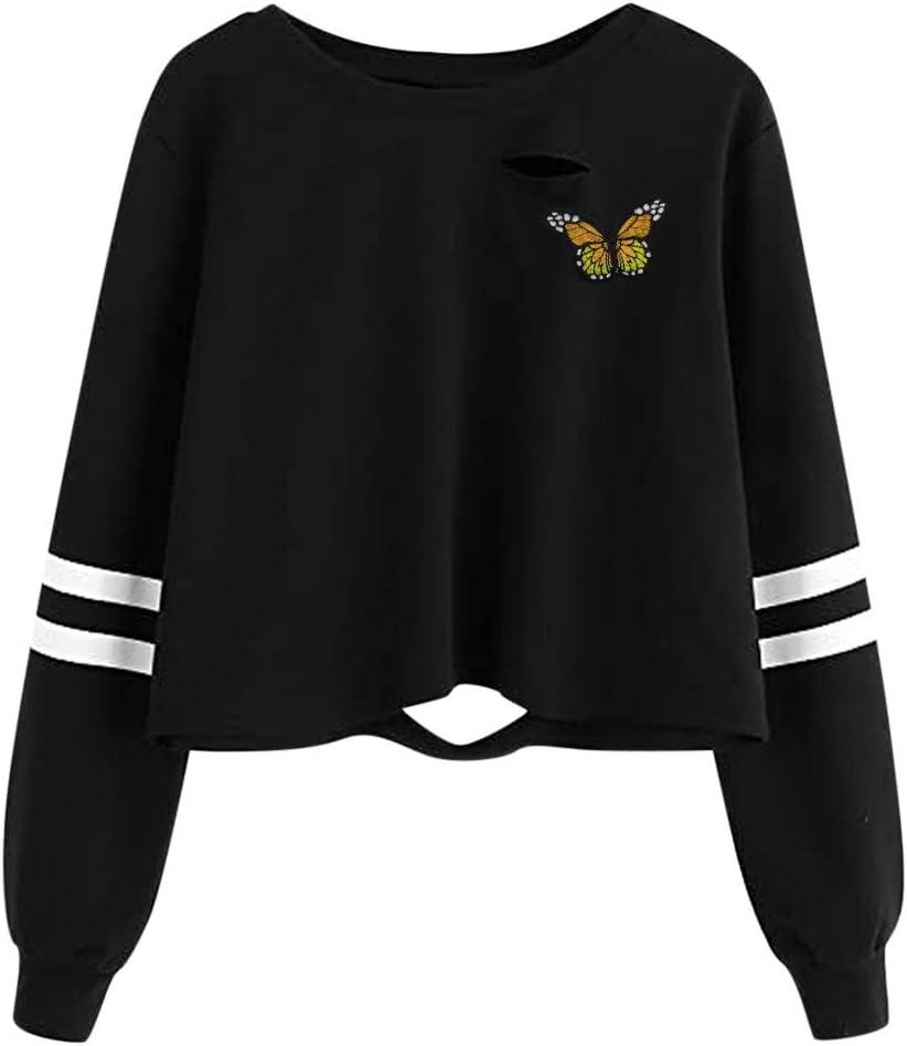 Hemlock Teen Girls Sweatshirt Stripes Long Sleeve Tops Juniors Hoodie Butterfly Causal Tops Autumn Pullover Blouses