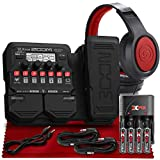 Zoom G1X Four Guitar Effects Processor w/Built-In Expression Pedal + SR360 Over-Ear Dynamic Stereo Headphones, Xpix Rechargeable AA Batteries with Quick Travel Charger and Cable Accessories