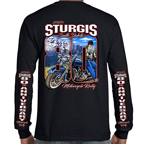 Biker Life Clothing 2020 Sturgis Motorcycle Rally 80th Anniversary Long Sleeve Black