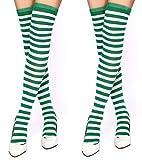 krautwear® Damen Gestreifte Overknees Strümpfe 2 Paar Ringelstrümpfe Karneval Fasching Cosplay 80er Jahre (2x grün-weiss)