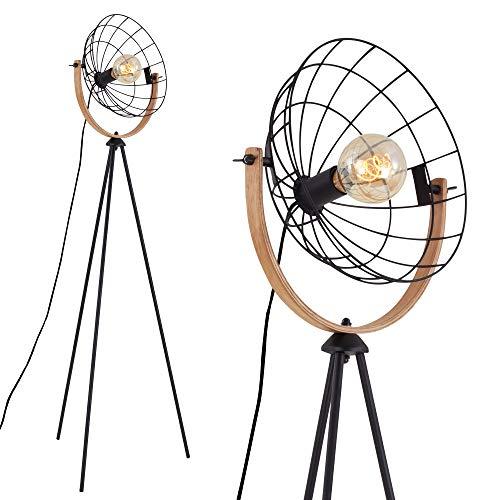 Briloner Leuchten - Lámpara de pie, lámpara de pie, lámpara de estudio, retro, vintage, 1 x E27, máx. 40 W, incluye interruptor de cable, color negro, madera, 595 x 1490 mm (ancho x alto), 1385-015