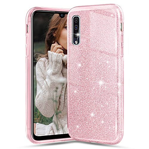 Cover per Samsung Galaxy A50/Samsung Galaxy A30S/Samsung Galaxy A50S, Crystal Glitter Ultra Sottile Morbido TPU Silicone Trasparente Case Colorate Brillantini Antiurto Protettiva Custodia, Rosa