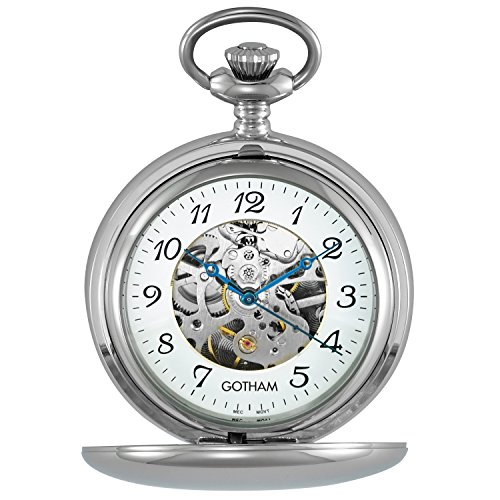 Gotham Men's Silver-Tone 17 Jewel Mechanical Double Cover Pocket Watch