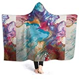 XCNGG Manta con Capucha Hooded Blanket Throw Dutch Pour Super Soft Sherpa Fleece Blanket Hood Poncho Cloak Cape