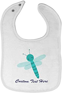 Custom Baby Bibs Burp Cloths Dragonfly Cotton Baby Items for Baby Girl & Boy White Custom Text Here
