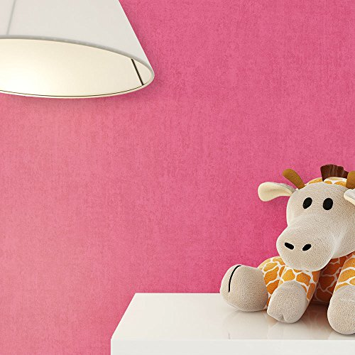 NEWROOM Kindertapete Pink Unifarbe Struktur Uni Papiertapete Papier Tapete Einfarbig Unifarben