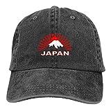 WAYMAY Con La Bandera Tradicional Japonesa Cuadros Japoneses Unisex Adjustable Cowboy Hat Adult Cotton Baseball Cap Black